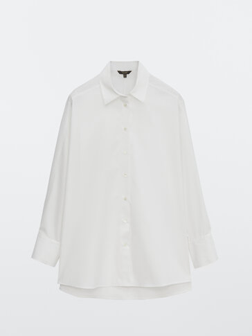 Poplin shirt with darted shoulders