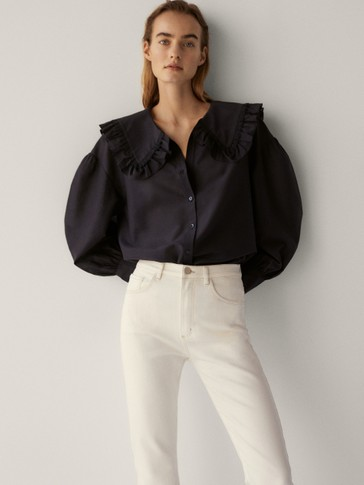 Cotton and silk shirt with ruffled neckline