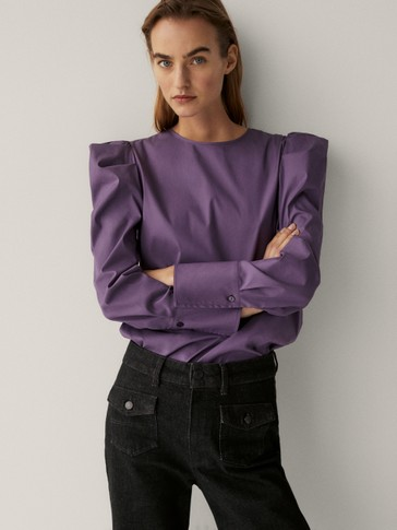 Poplin shirt with shoulder detail