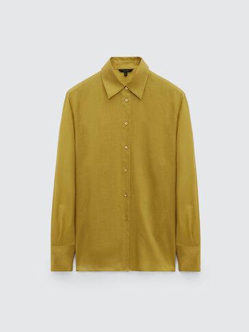 قميص سادة من الحرير/ القطن