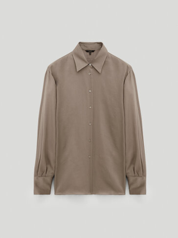 Cotton/silk plain shirt