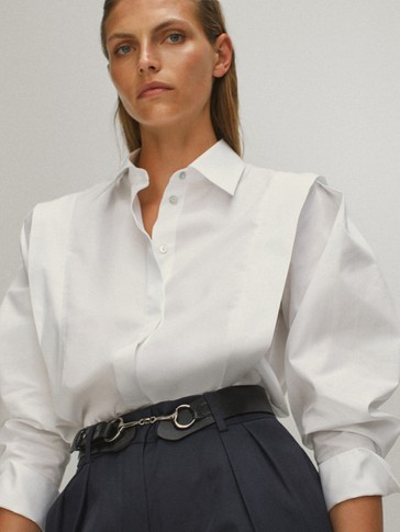 Plain wing panel poplin shirt