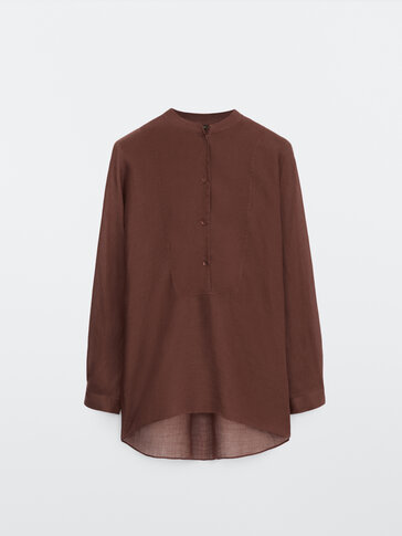 Ramie oversize shirt with bib detail