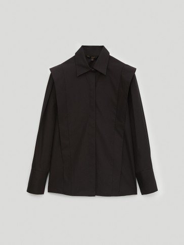 Black wing panel poplin shirt