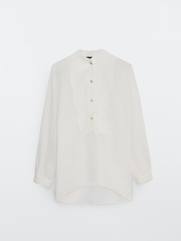 Ramie linen oversize shirt with bib detail