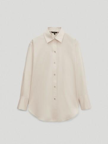 قميص بوبلين من الساتان والقطن 100%