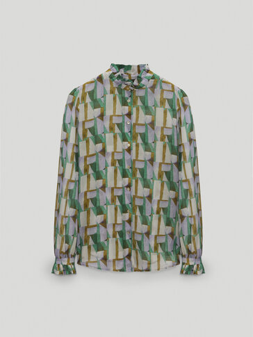 Cotton and silk printed shirt