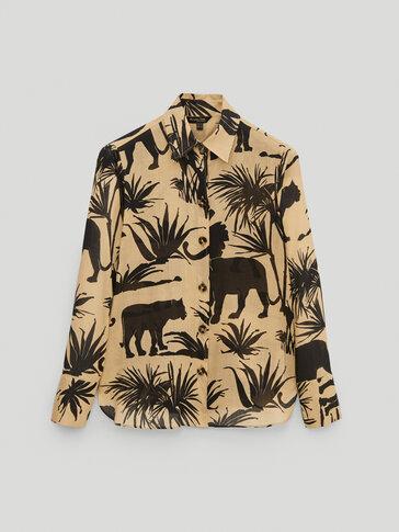 Ramie cotton jungle print shirt