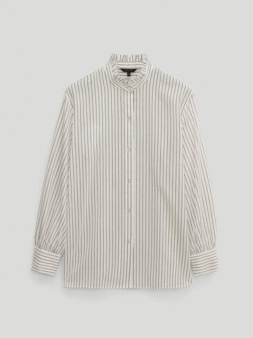 قميص مقلم من القطن والحرير