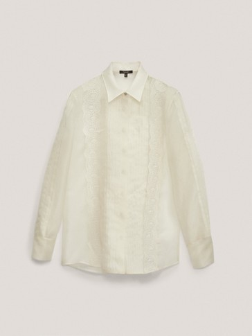 Striped silk organza shirt with embroidery