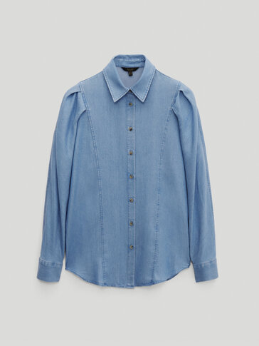 Denim shirt with pleated shoulders