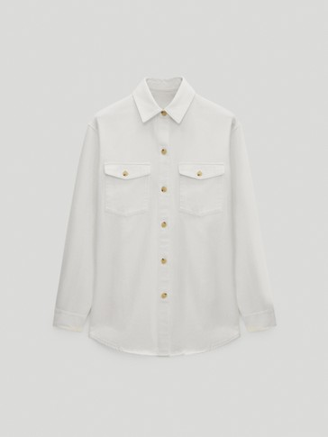 Cotton overshirt with pockets