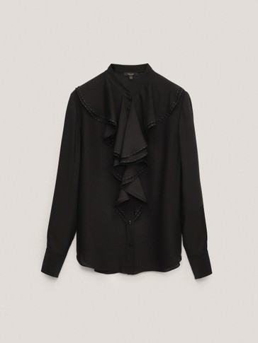 Black ruffled shirt with rhinestone detail