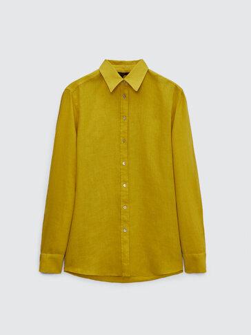Effen 100% linnen blouse