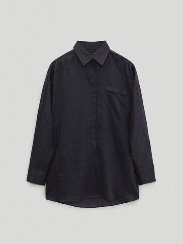 Skjorte med lomme, 100 % rami