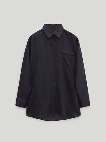 100% ramie shirt with pocket