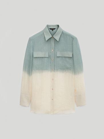 Batikovaná košeľa zo 100 % ramie