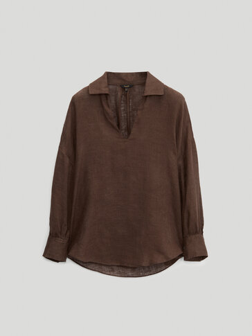 100% linen V-neck blouse