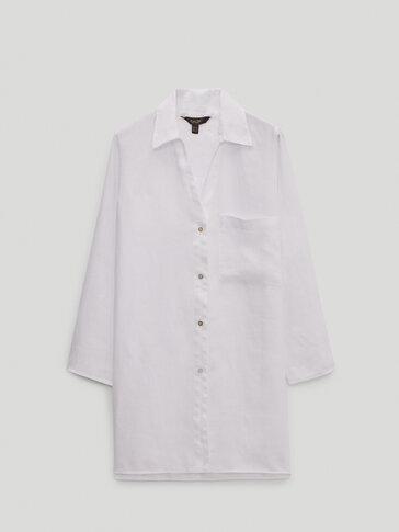 100% linen shirt with pocket