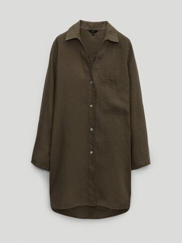 Camisa 100% lino con bolsillo