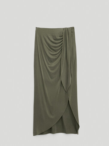 Cupro skirt with knot detail