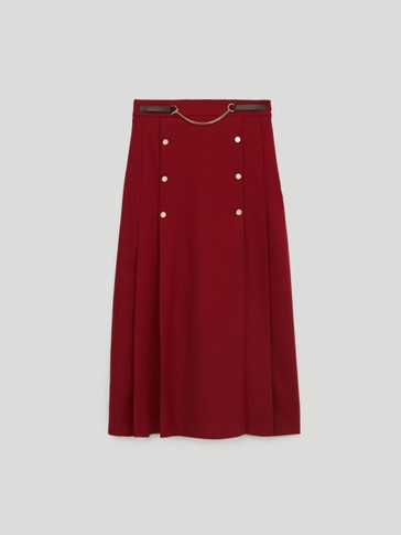 Flannel wool skirt with chain