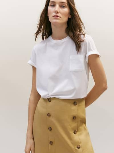 마시모두띠 Massimo Dutti Vented skirt with buttons,CAMEL