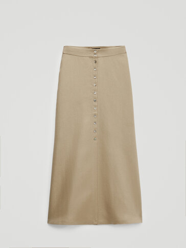 100% linen button-down skirt