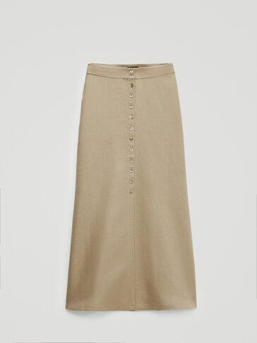 Falda botones 100% lino