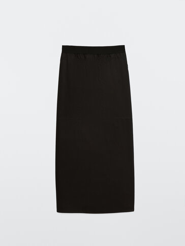 Poplin skirt with elastic waistband