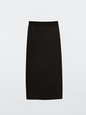 Popeline rok met elastische tailleband