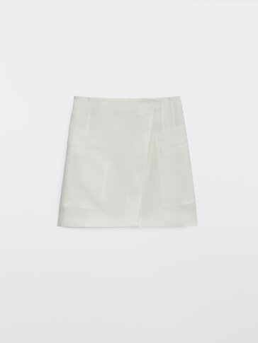 Short 100% linen skirt with pockets