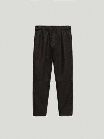 Leather jogging-fit trousers