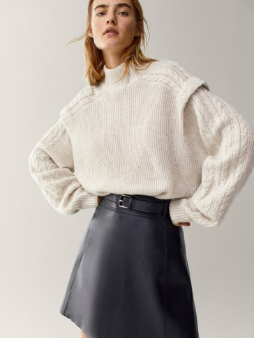 Black leather short skirt with belt