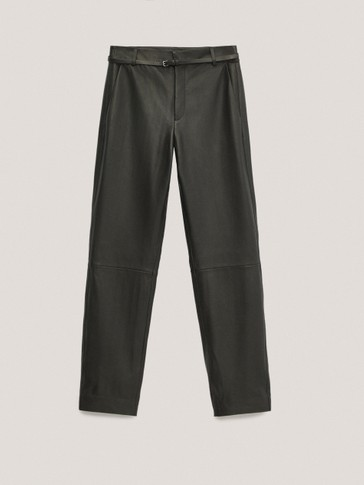 Black nappa leather straight fit trousers