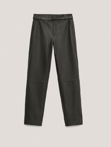 Черные брюки прямого кроя из мягкой кожи наппа