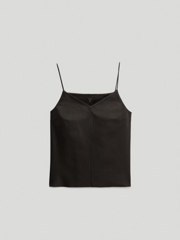 Black nappa leather strappy top