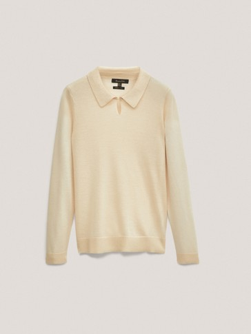 Lyocell and wool polo sweater