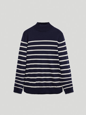Striped mock turtleneck sweater