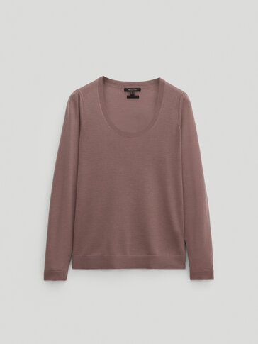 Wool and lyocell sweater with gathered shoulders
