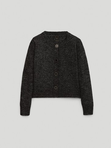 Metallic thread wool cardigan