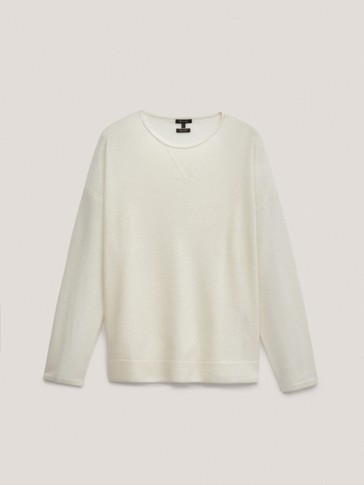 Wool/cashmere crew neck sweater