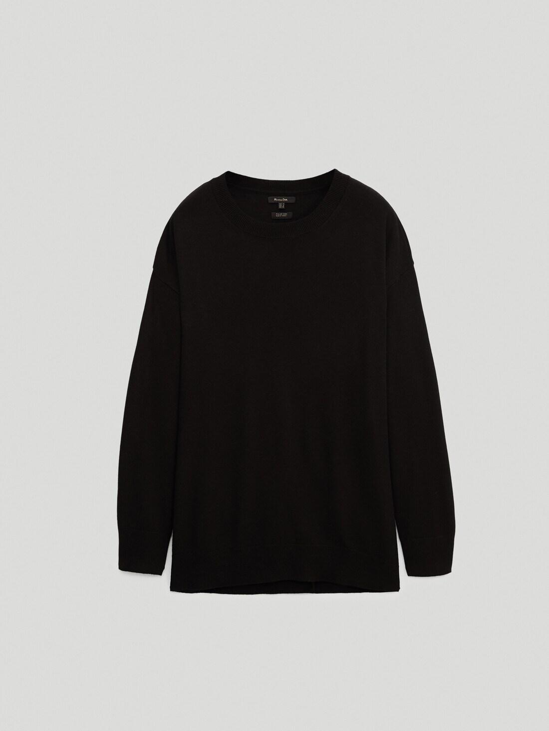Свитер в стиле бойфренд с круглым вырезом Черный Massimo Dutti