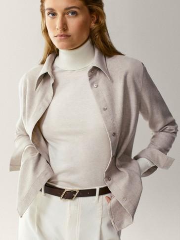 Jersey cuello alto lana seda