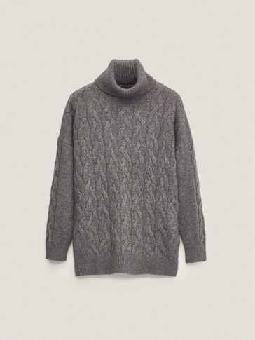 Cable-knit cashmere wool high-neck sweater