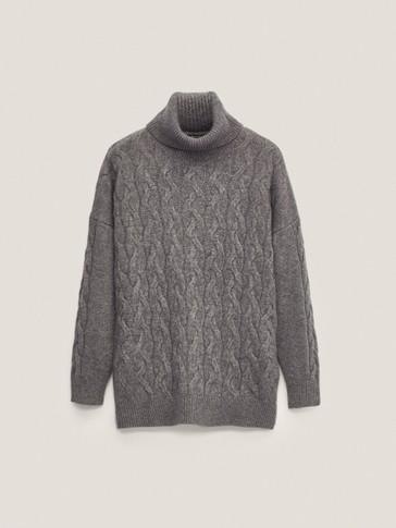 Jersey trenzas lana cashmere cuello alto