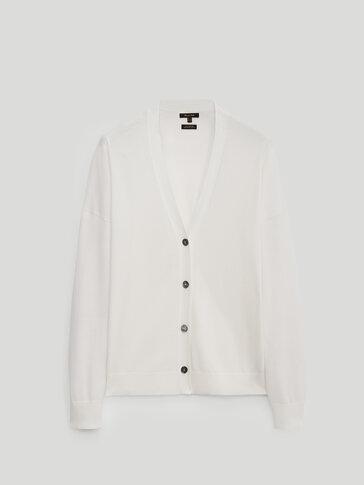 Krátky kardigán zo 100 % bavlny.