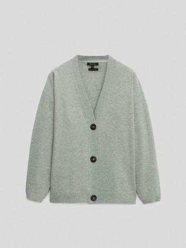 Plain knit cardigan