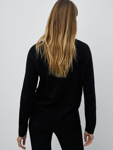 Wool and cashmere mock turtleneck sweater