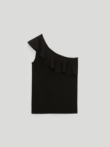 Asymmetric top with ruffled trim